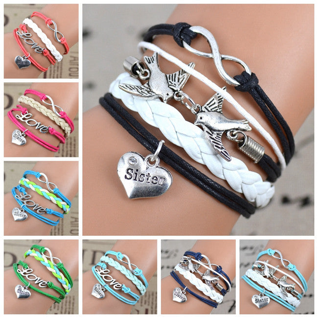 2016 New Fashion Infinity Love Birds Sister Charm Bracelet With Handwoven leather Bracelets for Women Man Valentine's Day Gift