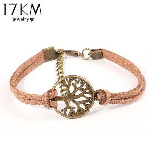 New hot sale 100% Fashion Vintage hand-woven Rope Chain Leather Bracelet Metal tree charm bracelets jewelry for women 2014 M16