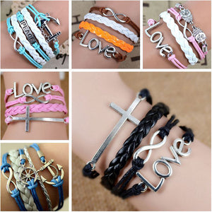 Free shipping Fashion Vintage metal cross love anchor  beads Owl leather bracelet multilayer multi-layer bracelet