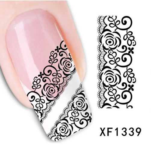 1 Sheet Black Lace Flowers Watermark Nail Sticker, Water Transfer Nail Decals For UV Gel Polish Nail Decoration Tools - Cerkos.com
