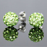 Free Shipping 19 Color 10MM New Shamballa Earrings Micro Disco Ball Shamballa Crystal Stud Earring For Women Fashion Jewelry - Cerkos  - 13