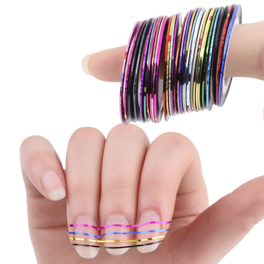 30Pcs Mixed Colorful Beauty Rolls Striping Decals Foil Tips Tape Line DIY Design Nail Art Stickers for nail Tools Decorations - Cerkos.com