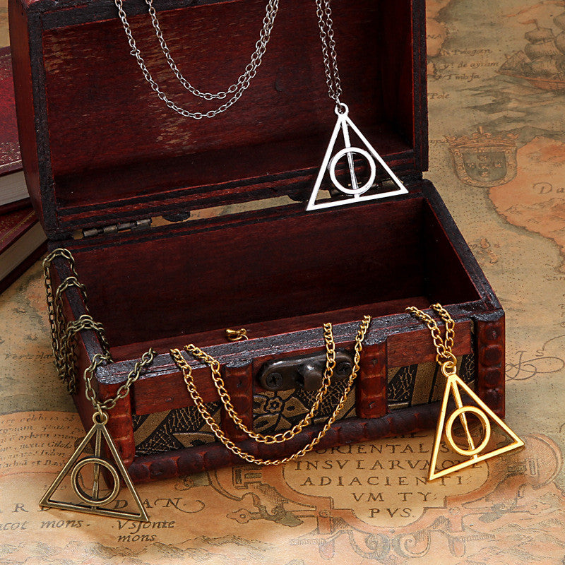 New Fashion Chic Vintage Unisex Triangle Pendant Deathly Hallows Bib Choker Necklace Sweather Chain - Cerkos