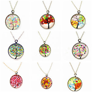 x363 Life Tree Pendant Necklace Art Tree glass cabochon Necklace silver chain vintage choker statement - Cerkos  - 1