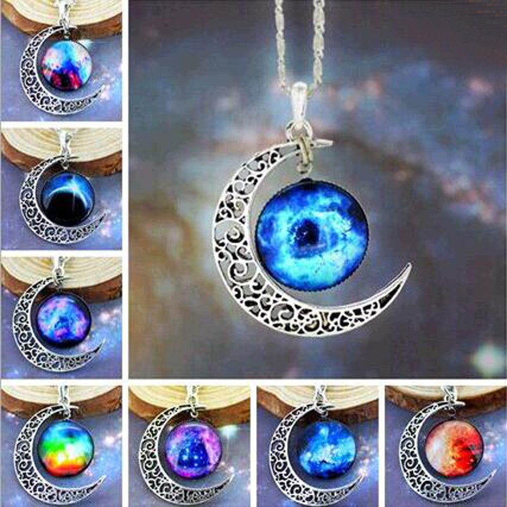 Brand Fashion Jewelry Choker Necklace Glass Galaxy Lovely Pendant Silver Chain Moon Necklace & Pendant - Cerkos.com