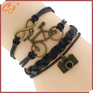 Cute Antique Bronze Camera Pendant Female Charm Bracelet Hollow Bicycle Infinity Leather Braided Bracelet Handmade Retro Jewelry - Cerkos.com