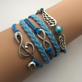 AB076 Fashion jewelry leather Double infinite multilayer bracelet factory price wholesales - Cerkos  - 12