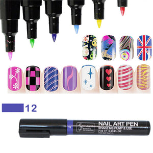 1pcs Nail Art Pen Painting Design Tool Drawing For UV Gel Polish Manicure Women Beauty Tools 16 Colors Free Shipping - Cerkos.com