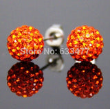 Free Shipping 19 Color 10MM New Shamballa Earrings Micro Disco Ball Shamballa Crystal Stud Earring For Women Fashion Jewelry - Cerkos  - 17