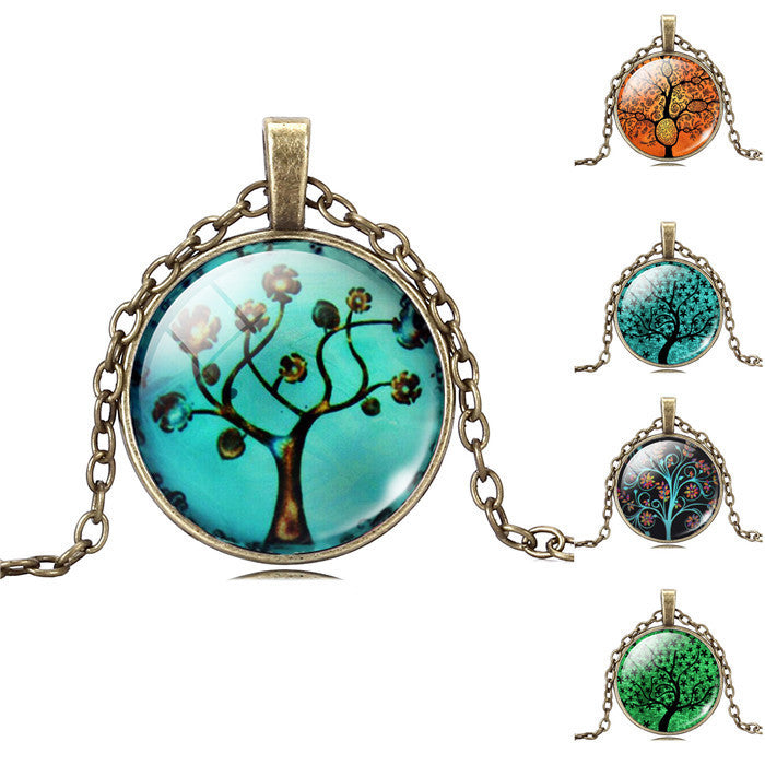 Life Tree Pendant Necklace Eternal Tree Art glass cabochon Bronze chain vintage choker statement Necklace Fashion women Jewelry - Cerkos  - 1