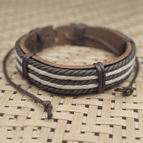 Male Fashion Mens Bracelets Five Wax Ropes Handmade Leather Bracelet Brown Color