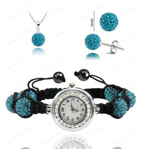 Fashion Watch Crystal Shamballa Set Crystal Pendant+Bracelet+Crystal Earring Jewelry Set 10MM Disco Ball Free Shipping - Cerkos  - 8