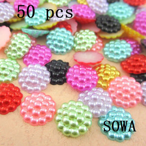 Free Shipping 50Pcs/lot 12mm Imitation Pearls Half Round Flatback Flower Beads Wedding Cards Embellishments DIY Decoration - Cerkos.com