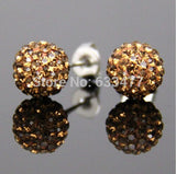 Free Shipping 19 Color 10MM New Shamballa Earrings Micro Disco Ball Shamballa Crystal Stud Earring For Women Fashion Jewelry - Cerkos  - 9
