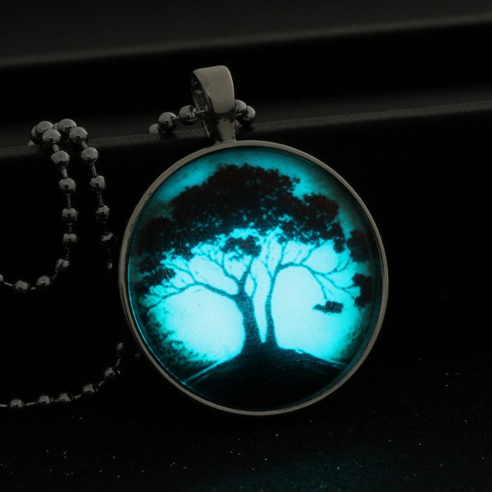 Glowing Pendant Necklace tree of life glass glow in the dark necklace Stainless Steel Chain Luminous necklace women jewelry - Cerkos.com