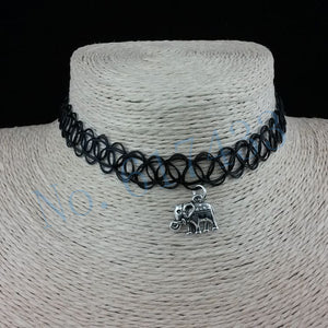 Handmade Hot Selling Vintage Stretch Tattoo Choker Necklace Gothic Punk Grunge Henna Elastic with Pendant Necklaces - Cerkos  - 4