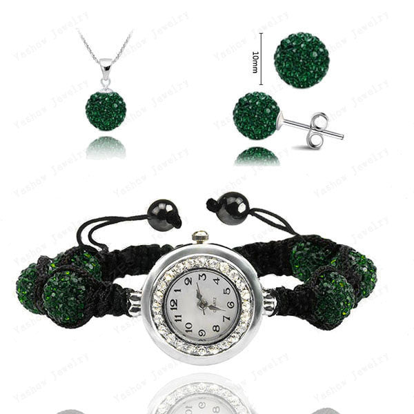 Fashion Watch Crystal Shamballa Set Crystal Pendant+Bracelet+Crystal Earring Jewelry Set 10MM Disco Ball Free Shipping - Cerkos  - 5