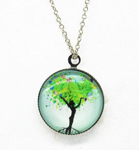x363 Life Tree Pendant Necklace Art Tree glass cabochon Necklace silver chain vintage choker statement - Cerkos  - 12