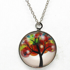 x363 Life Tree Pendant Necklace Art Tree glass cabochon Necklace silver chain vintage choker statement - Cerkos  - 4