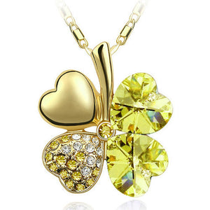 Free Shipping Factory Wholesale Price 18K GP Austrian Crystal Clover 10 colors mixed 4 Leaf Leaves pendant Necklace jewelry 9554 - Cerkos  - 14