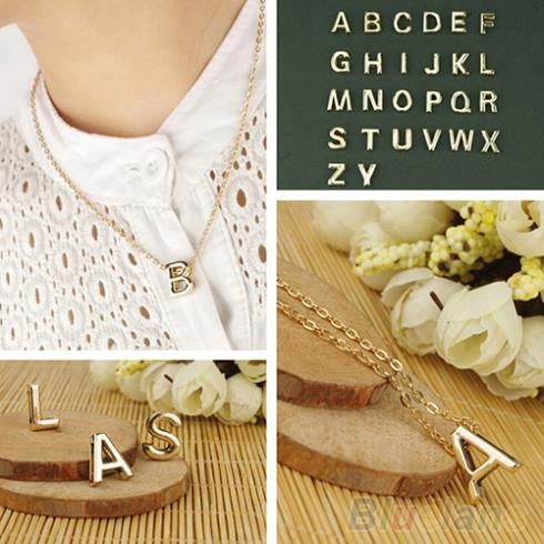 Fashion Women's Metal Alloy DIY Letter Name Initial Link Chain Charm Pendant Necklace - Cerkos.com
