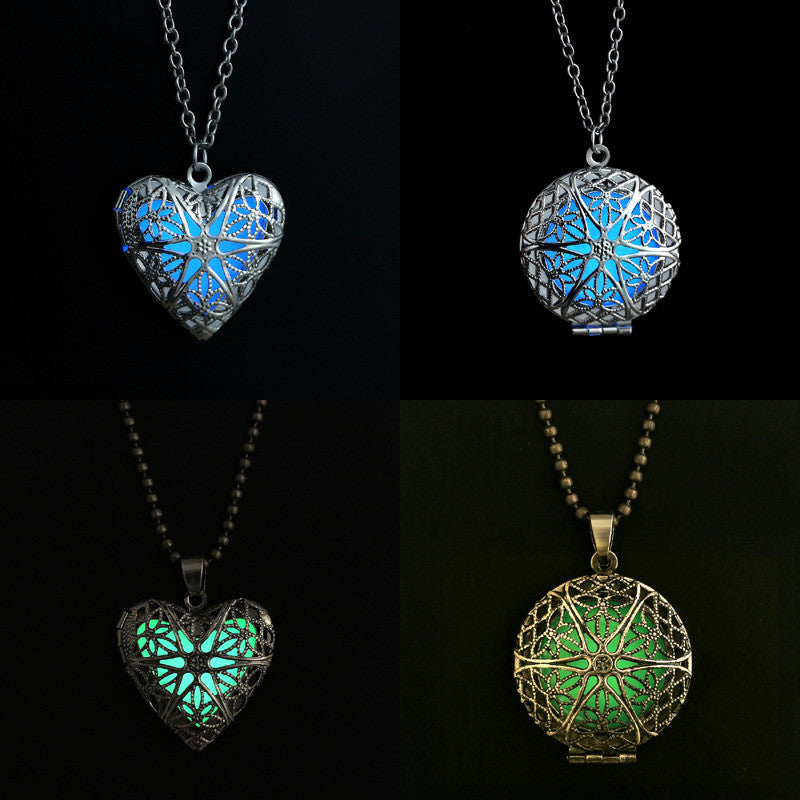 Chain Necklace 2015 Fashion Glow Heart Round Locket Glowing Pendant Necklace Glow in the Dark Glow Jewelry - Cerkos  - 1