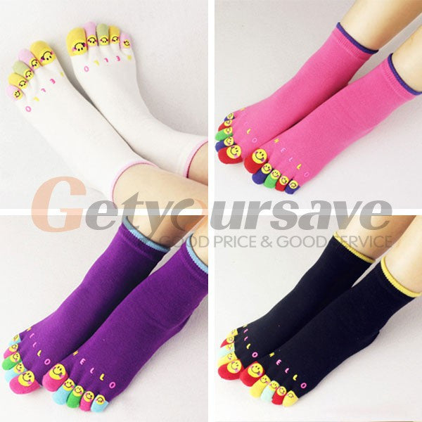 1 Pairs New Women's Socks Pure Cotton Sports Five Finger Socks Toe Socks - Cerkos.com