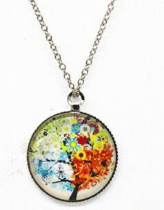 x363 Life Tree Pendant Necklace Art Tree glass cabochon Necklace silver chain vintage choker statement - Cerkos  - 7