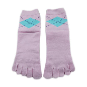 Wiggle Socks Stylish New pink Women's Middle Tube Sports Running Cotton Five Finger Toe Socks - Cerkos  - 4