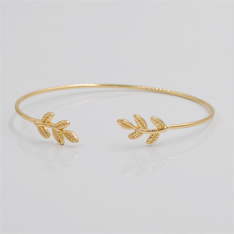 Cerkos.com: Design Leaves Gold & Silver Plated Stretch Bracelets & Bangles Thin Fashion Open Bangle