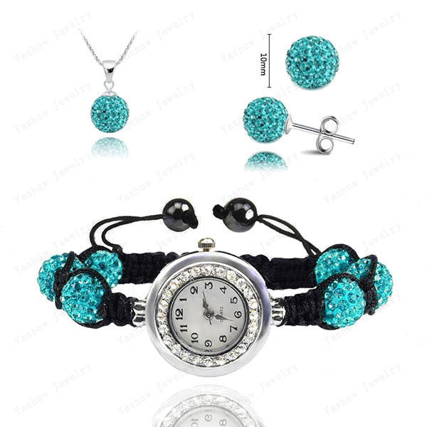 Fashion Watch Crystal Shamballa Set Crystal Pendant+Bracelet+Crystal Earring Jewelry Set 10MM Disco Ball Free Shipping - Cerkos  - 9