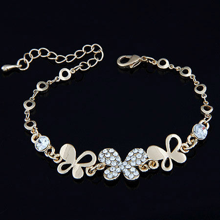 Gold plated Bracelets Personalized Crystal String Butterfly Charms Chain Silver Link Bracelet for women