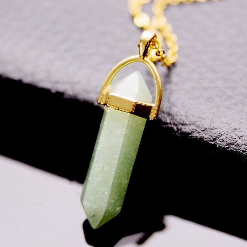 New Paint Spraying Clear Quartz Green Aventurine Pendant Necklace Irregular Natural Stone Pendant Women Gift Jewelry Necklace - Cerkos  - 4