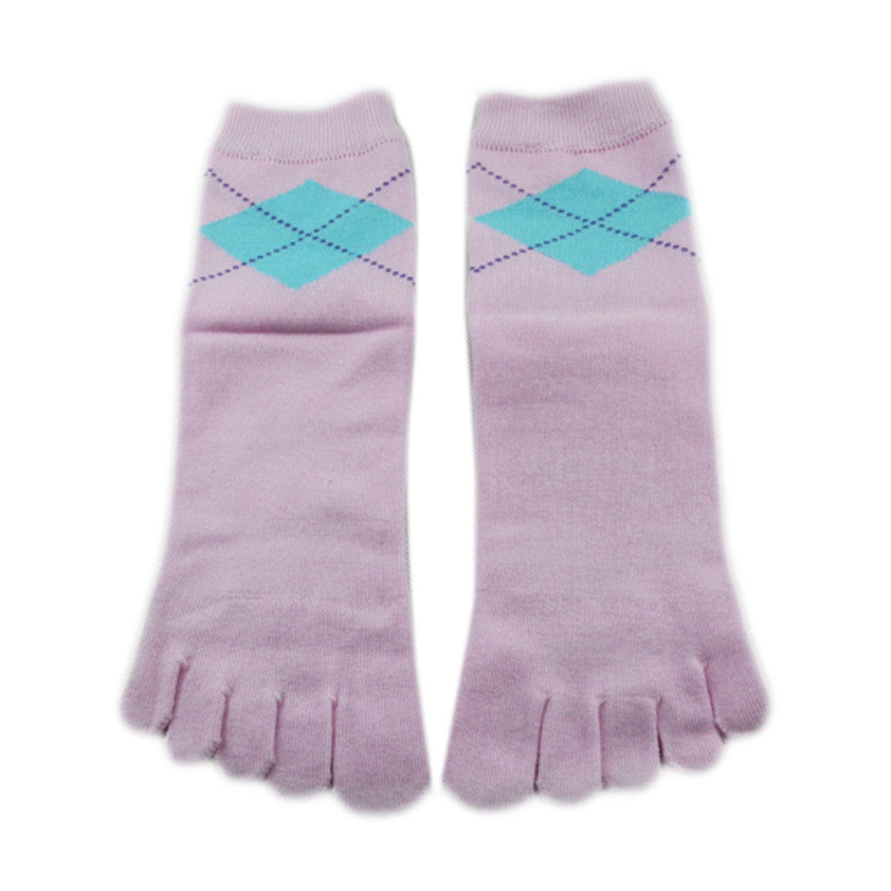Wiggle Socks Stylish New pink Women's Middle Tube Sports Running Cotton Five Finger Toe Socks - Cerkos  - 3