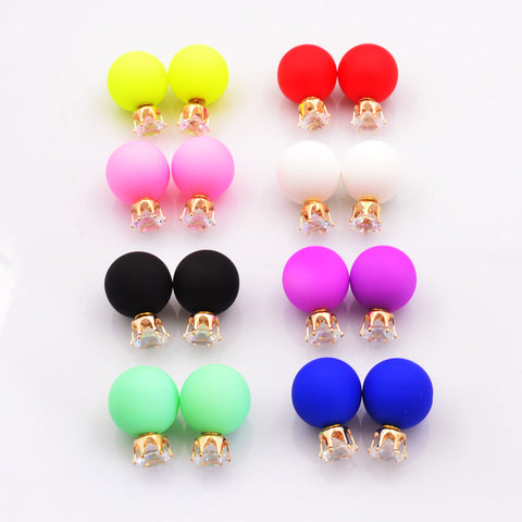 New Fashion jewelry double side crystal 16MM pearl Frosted matte stud earring gift for women girl mix color E2657 - Cerkos  - 1