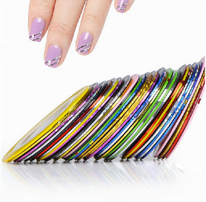 10pcs Striping Tape Line Nail Art Sticker Decoration DIY Decals UV Gel Acrylic Nail Ti[s - Cerkos.com