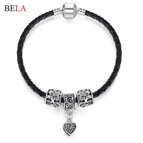 Silver Plated  Leather Bracelet For Women Men Charm Fit Original Bracelets & Bangles DIY Jewelry 17cm-22cm
