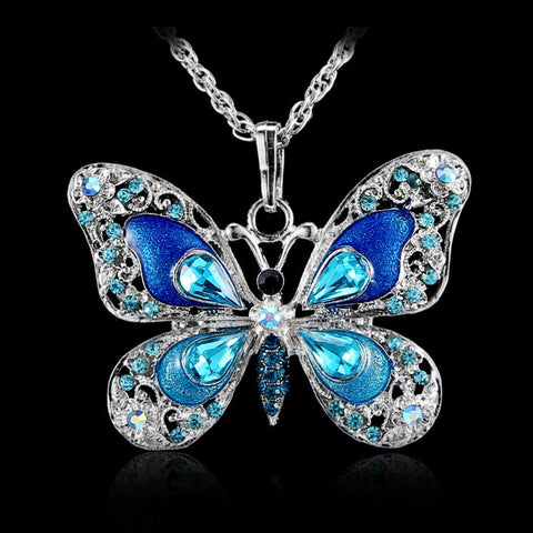 Beautiful Rhinestone Butterfly Long Necklaces Sweater Necklaces  Fashion Necklace For Women Necklace Pendants Silver Jewelry - Cerkos.com