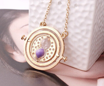 Hot Sale Harry Potter Time Turner Necklace Hermione Granger Rotating Spins Gold Hourglass - Cerkos  - 3