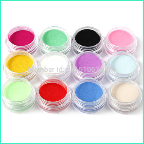 12 Colors Acrylic Powder Manicure Tips Nail Art 3D Decoration Builder Polymer - Cerkos.com