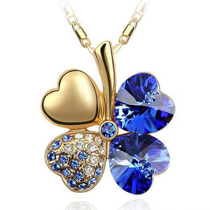 Free Shipping Factory Wholesale Price 18K GP Austrian Crystal Clover 10 colors mixed 4 Leaf Leaves pendant Necklace jewelry 9554 - Cerkos  - 17