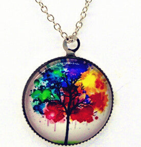 x363 Life Tree Pendant Necklace Art Tree glass cabochon Necklace silver chain vintage choker statement - Cerkos  - 8