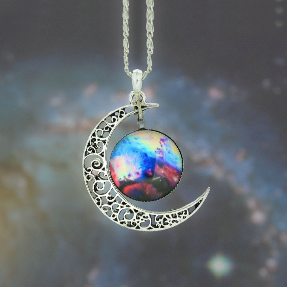 Galaxy Necklace Lovely Moon Galaxy Nebula Space Antique Silver Alloy Pendant Platinum Plated Chain Necklace Couple Gift 2014 HOT - Cerkos  - 4