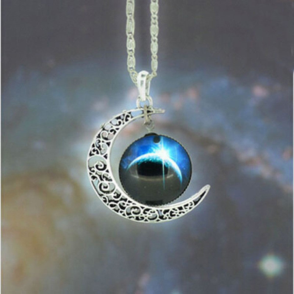 Brand Fashion Jewelry Choker Necklace Glass Galaxy Lovely Pendant Silver Chain Moon Necklace & Pendant - Cerkos  - 6