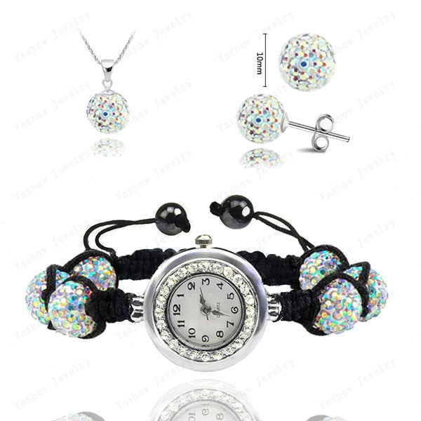 Fashion Watch Crystal Shamballa Set Crystal Pendant+Bracelet+Crystal Earring Jewelry Set 10MM Disco Ball Free Shipping - Cerkos  - 6