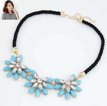Fashion temperament multilayer geometric Crystal Gem Flower Pendant Necklace luxury women collar A549 - Cerkos  - 2