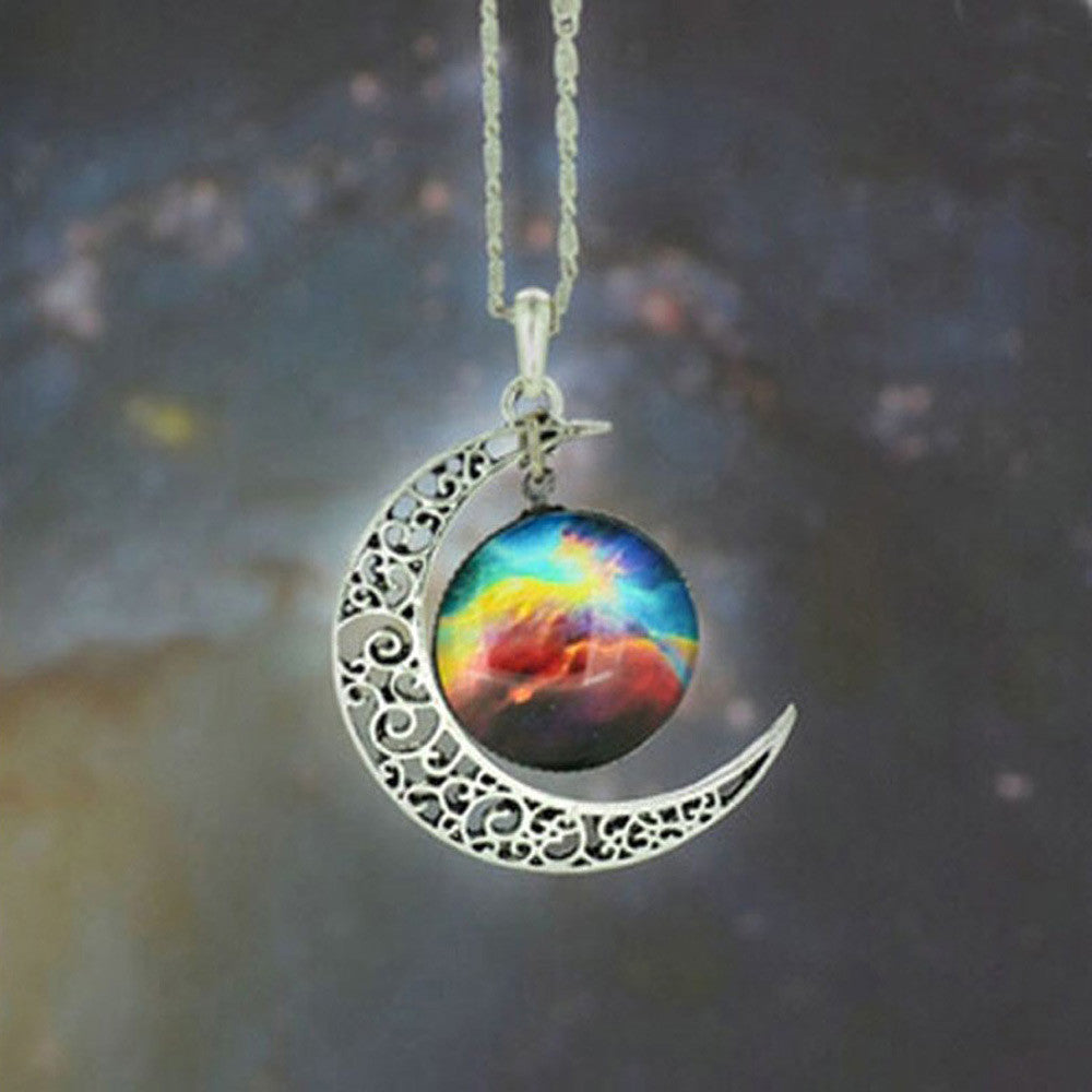 Brand Fashion Jewelry Choker Necklace Glass Galaxy Lovely Pendant Silver Chain Moon Necklace & Pendant - Cerkos  - 3