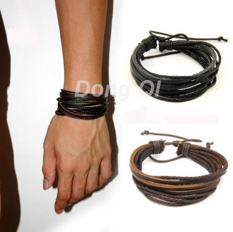 Cerkos.com: Men Or Women Wrap Multilayer Genuine Leather Bracelet with Braided rope Fashion Jewelry - Cerkos.com
