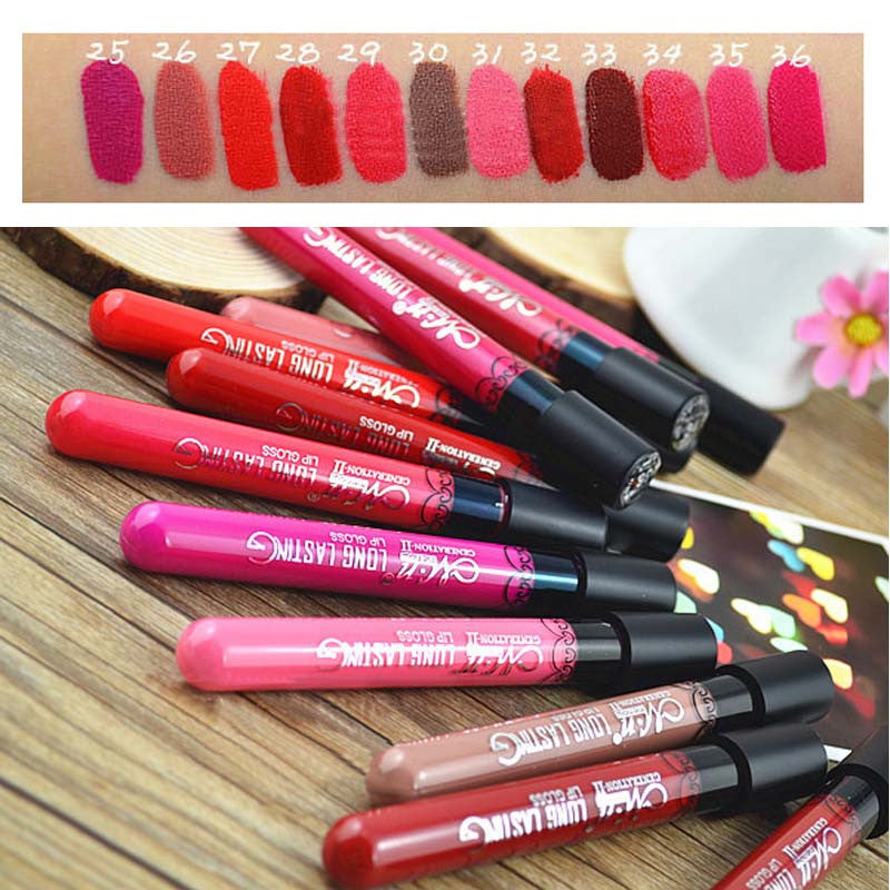 Waterproof Elegant Daily Color liquid Lipstick matte smooth lip stick lipgloss Long Lasting Sweet girl Lip lipstick to mouth - Cerkos  - 1
