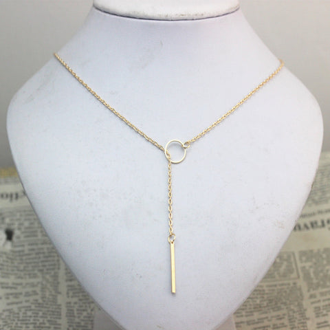SALE Star Jewelry 1pc New Hot Unique Charming Gold Tone Bar Circle Lariat Necklace Womens Chain Jewelry Gift Cheap Drop Free - Cerkos  - 1